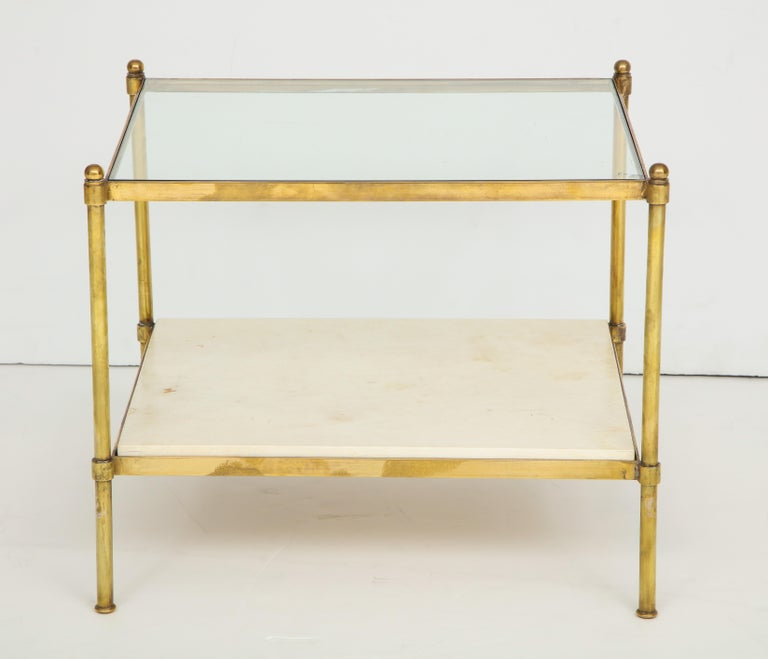 French Pair of Brass and Parchment Tables with Glass Tops For Sale