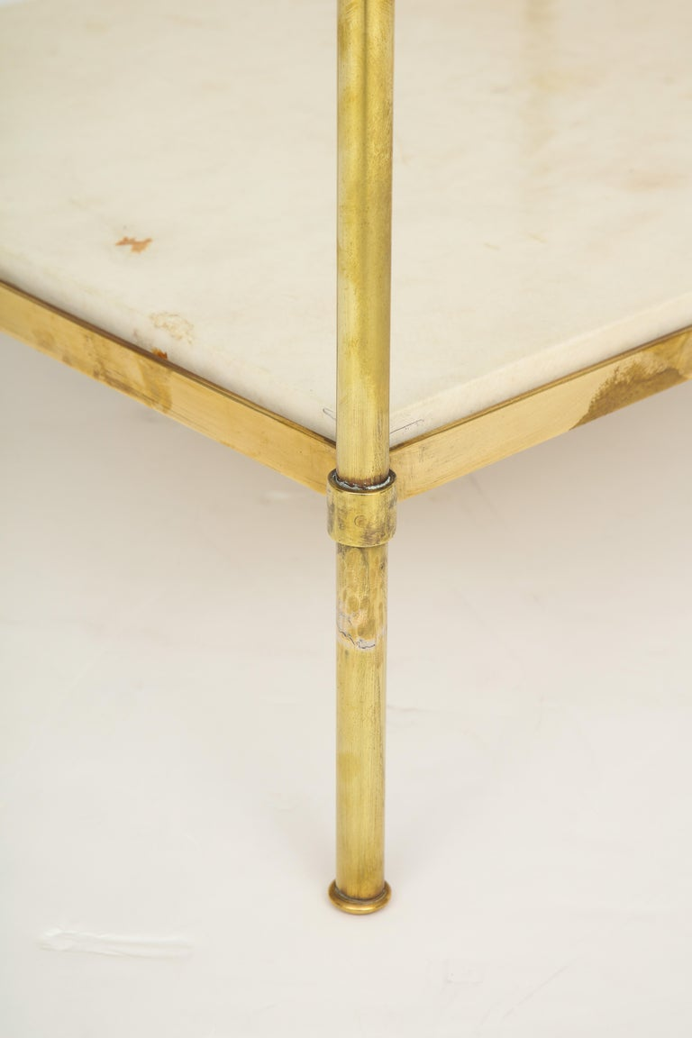 20th Century Pair of Brass and Parchment Tables with Glass Tops For Sale
