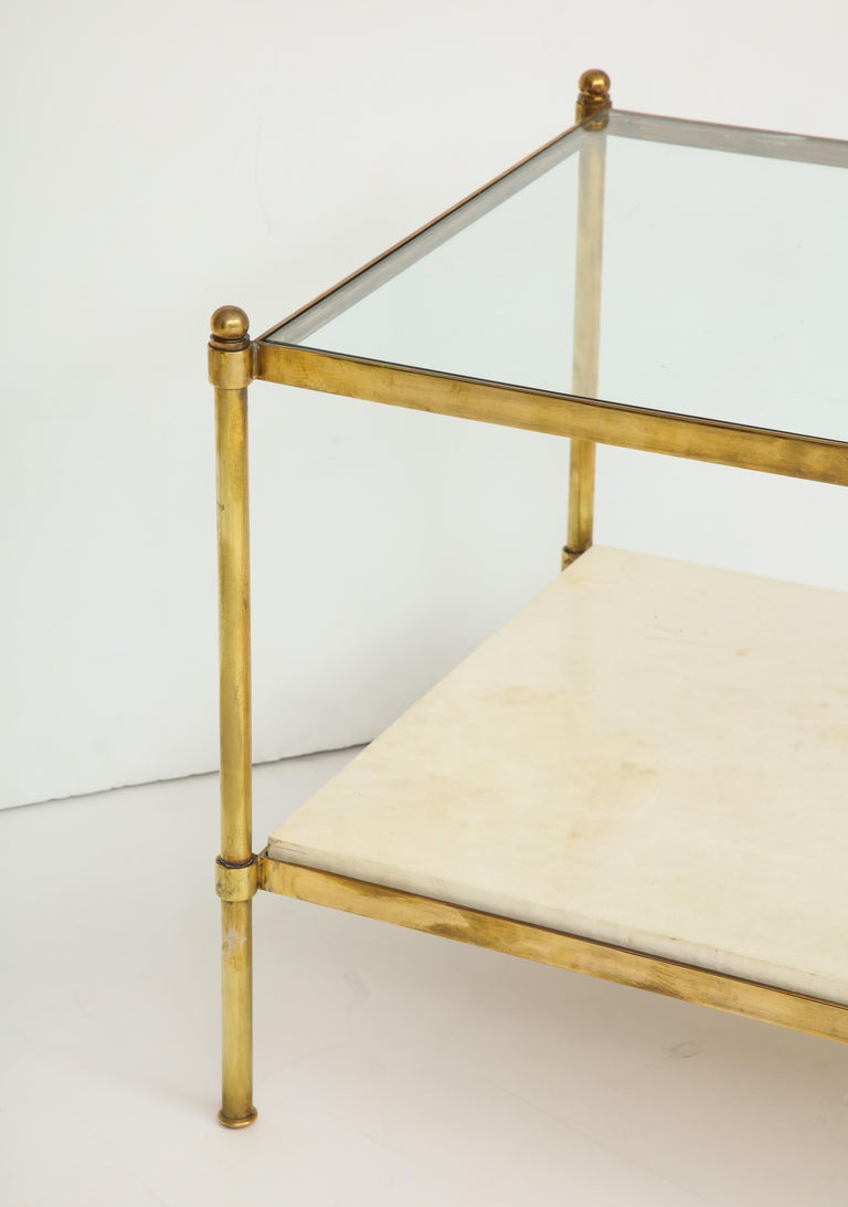 Pair of Brass and Parchment Tables with Glass Tops For Sale 2