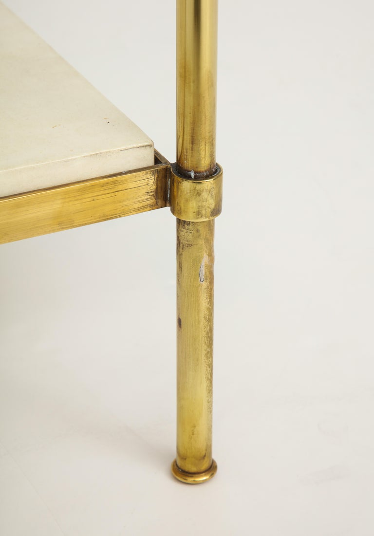 Pair of Brass and Parchment Tables with Glass Tops For Sale 3