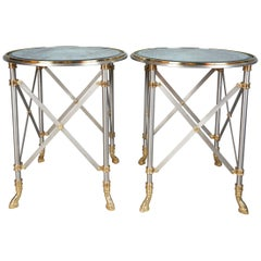 Pair of Brass and Polished Steel Side Tables by Maison Jansen