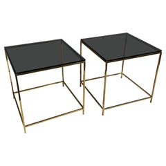 Pair of Brass and Smoke Glass End / Side Tables