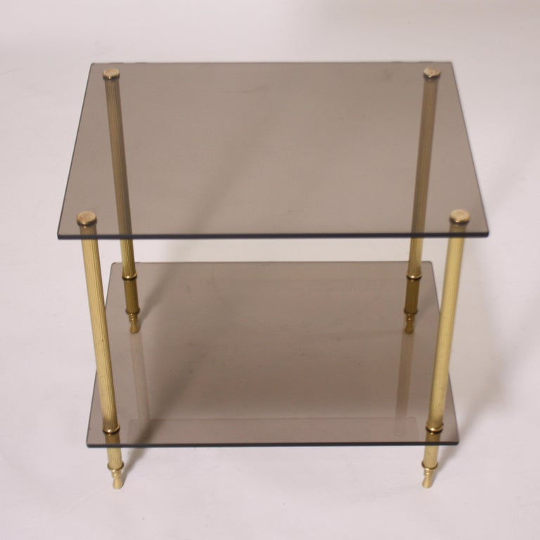 French Pair of Brass and Smoked Glass Tables, circa 1950 For Sale