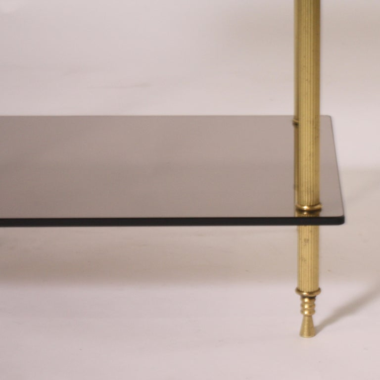 Pair of Brass and Smoked Glass Tables, circa 1950 In Good Condition For Sale In Dallas, TX