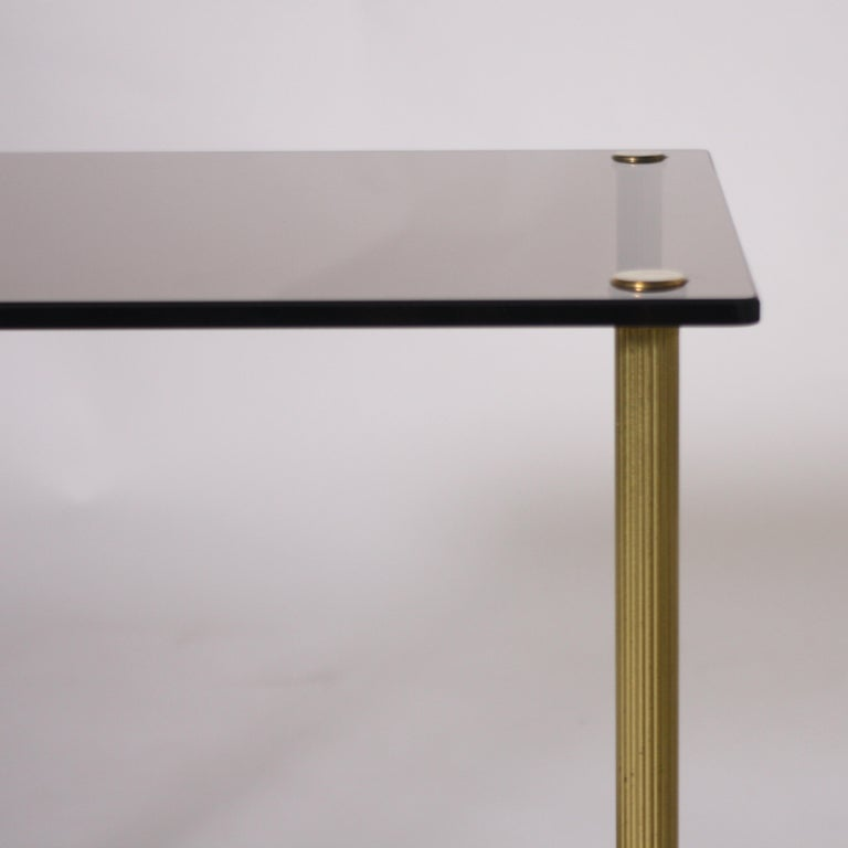 Mid-20th Century Pair of Brass and Smoked Glass Tables, circa 1950 For Sale