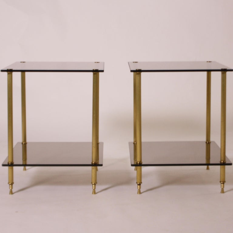 Pair of Brass and Smoked Glass Tables, circa 1950 For Sale 1