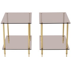 Pair of Brass and Smoked Glass Tables, circa 1950