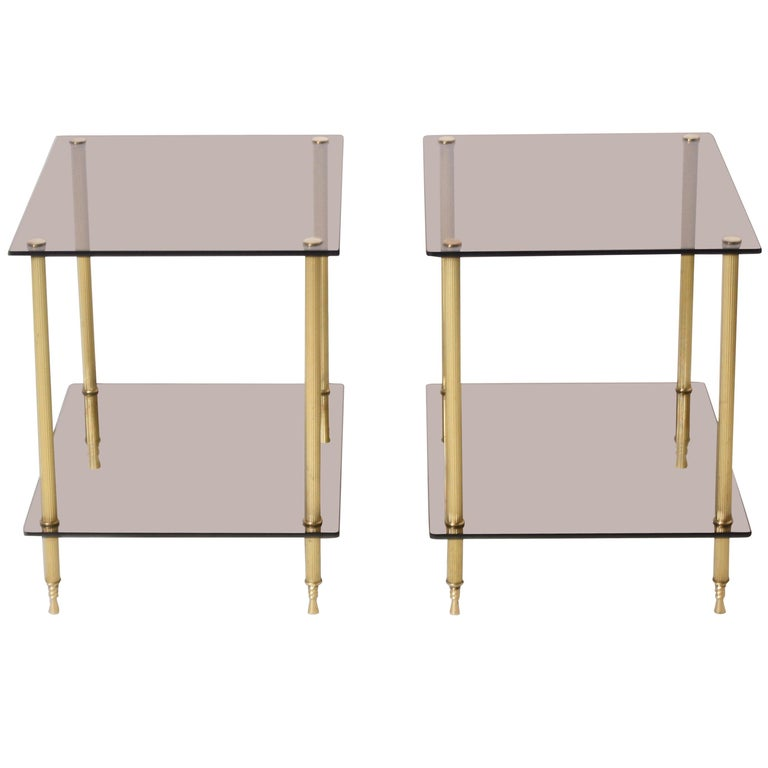 Pair of Brass and Smoked Glass Tables, circa 1950 For Sale