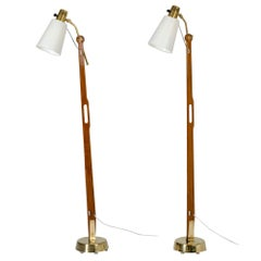 Pair of Brass and Teak Floor Lamps by Hans Bergström