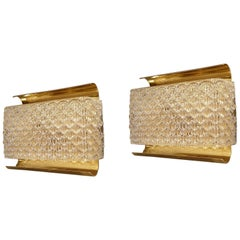 Pair of Brass and Textured Glass Mid-Century Modern Sconces, Kalmar Style, 1970s