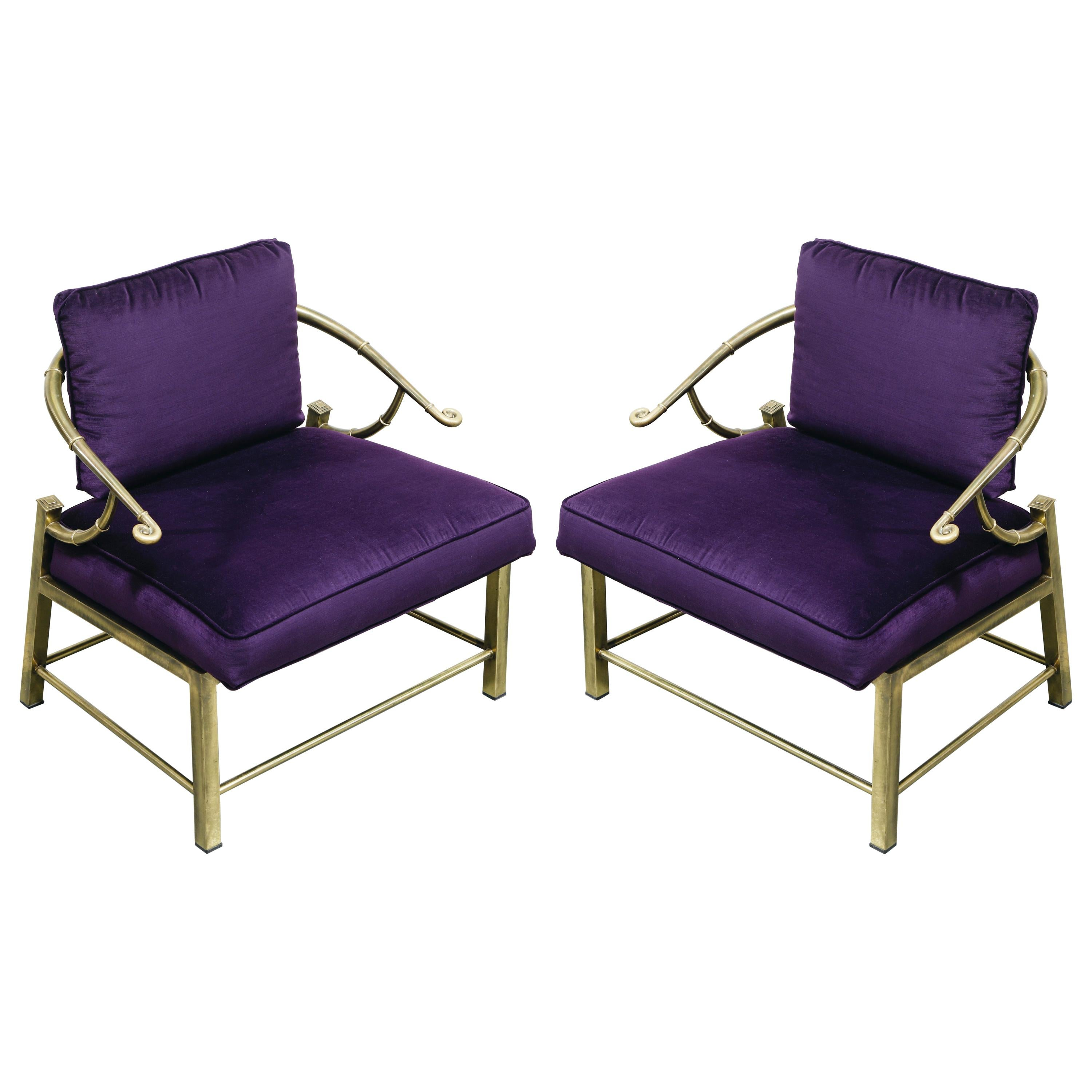 Pair of Brass and Velvet Slipper Chairs by Mastercraft, circa 1970, Italy