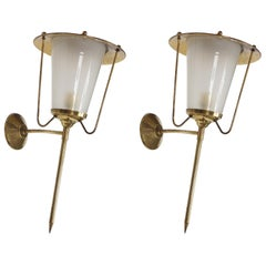 Pair of Brass and White Textured Opaline Wall Lights, 1950s, French Design