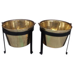 Pair of American Brass & Wrought Iron Plantation Cauldrons on Stand CT, C. 1851