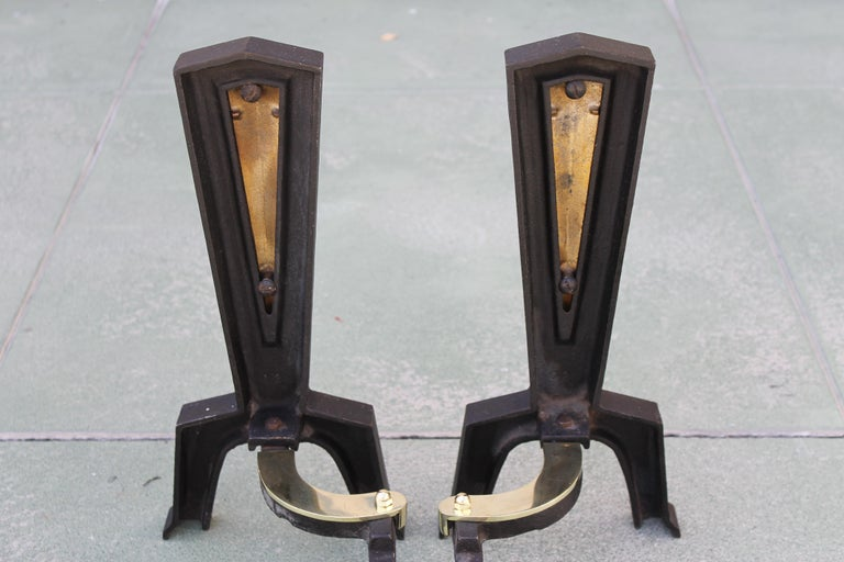 American Pair of Brass Andirons Attributed to Donald Deskey For Sale