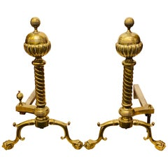 Pair of Brass Andirons circa 1880 Ball and Claw Feet of Twisted Column Form