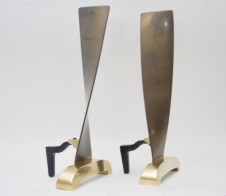 Mid-Century Modern Pair of Brass Andirons For Sale