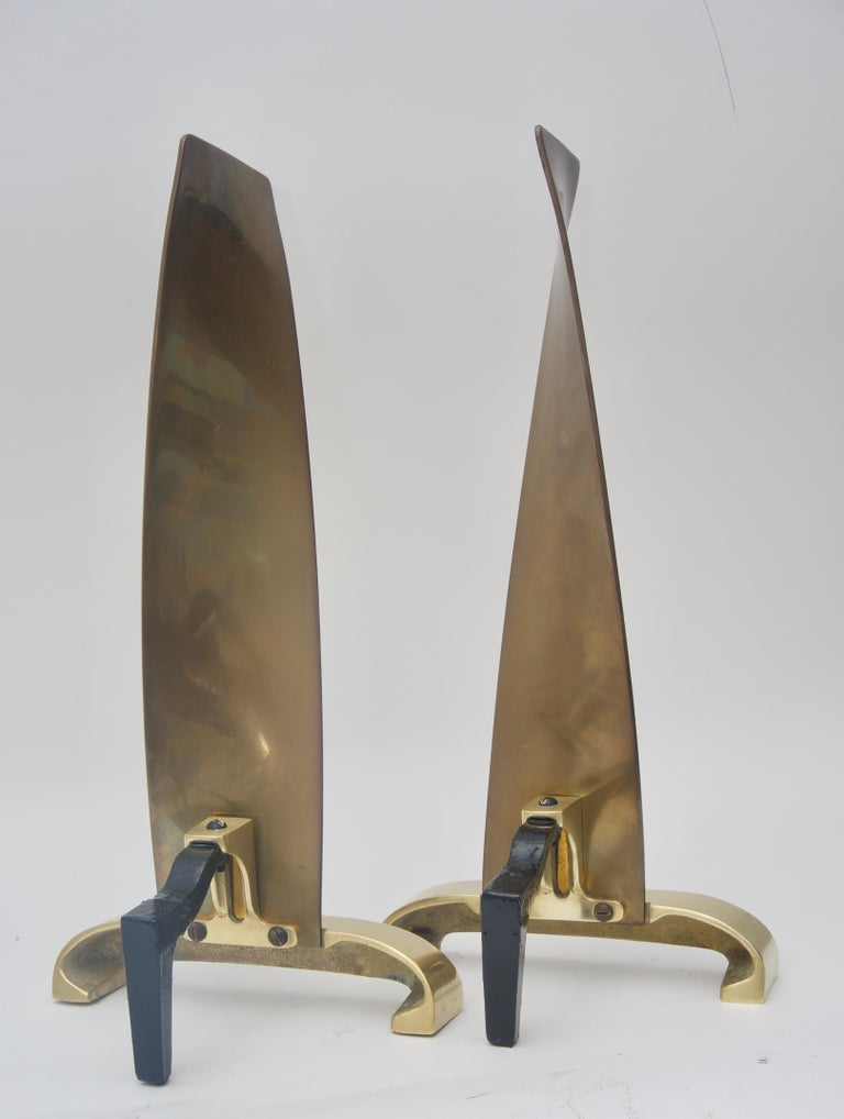 American Pair of Brass Andirons For Sale