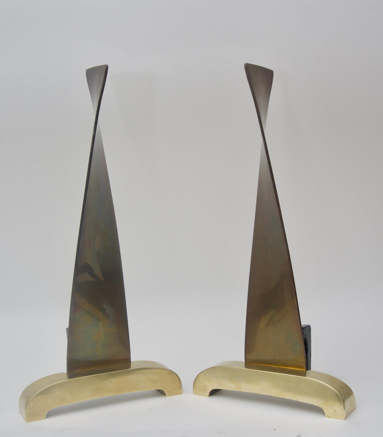 20th Century Pair of Brass Andirons For Sale