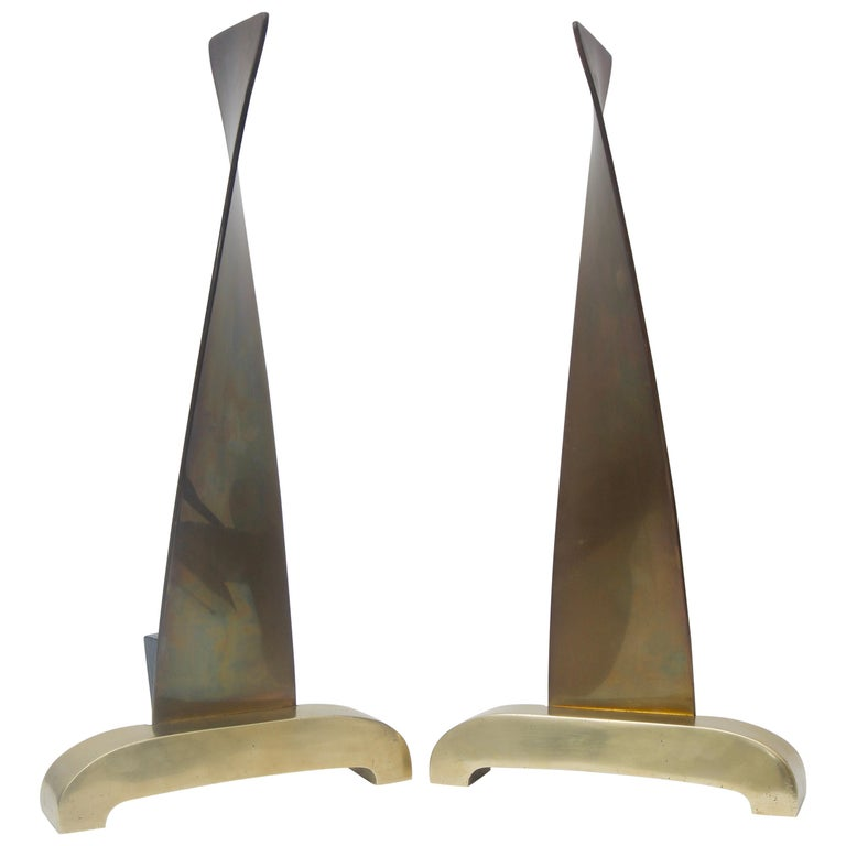 Pair of Brass Andirons For Sale
