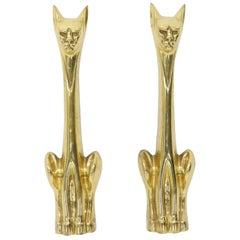 Pair of Brass Andirons Modern Deco Arts & Crafts