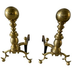 Pair of Brass Andirons with a Decorative Ball at Top and Feet, 19th Century
