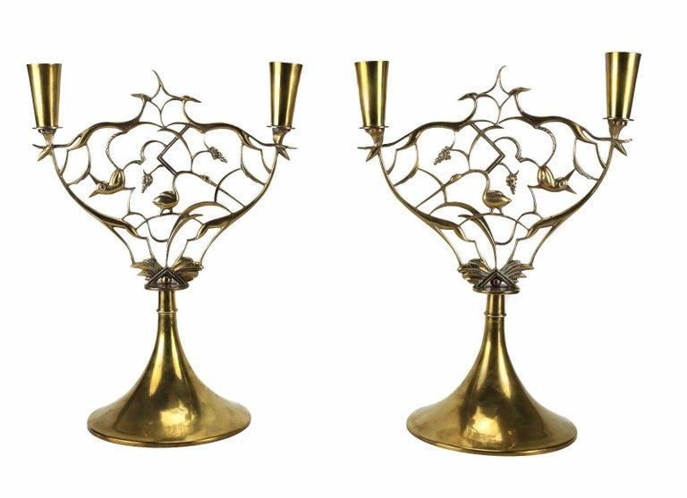 Pair of Brass Animal and Grapevine Candlesticks by Karl Hagenauer In Excellent Condition For Sale In Pasadena, CA