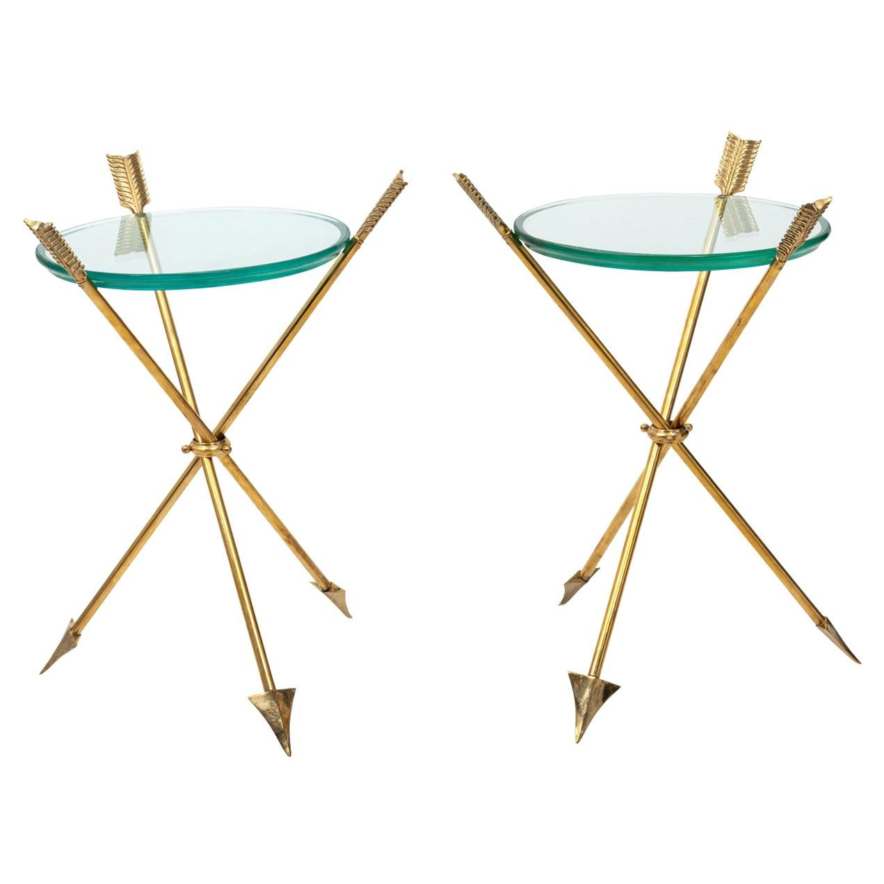 Pair of Brass Arrow and Glass Top Tables