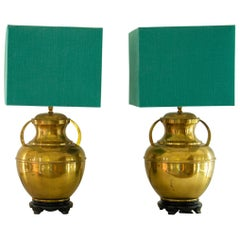 Pair of Brass Asian Modern Lamps, 1960s