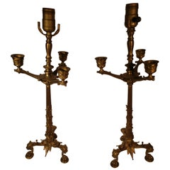 Pair of 19th Century Brass Baroque Table Lamps with Lions Heads