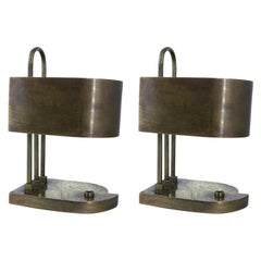Pair of Brass Bauhaus Bedside Lamp, Made in Germany, 1920s-1930s