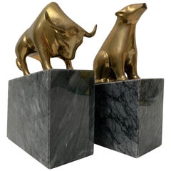 Pair of Brass Bear and Bull Bookends