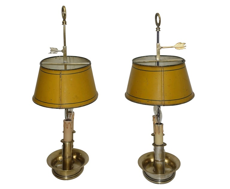 Pair of Brass Bouilotte Lamps with Yellow Tole Shades, French Early 19th Century For Sale 5