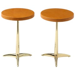 Pair of Brass and Brown Leather Drinks Tables, USA, 1960