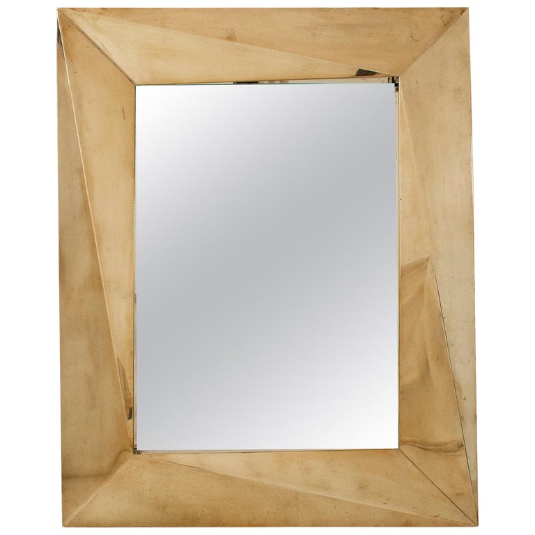 Pair of Brass Brutalist Wall Mirrors, circa 2000, Italy For Sale