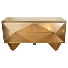 Pair of Brass Cabinets with Diamond Form Front Details