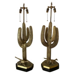 Pair of Brass Cactus Lamps