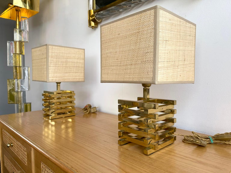 Mid-Century Modern Pair of Brass Cage Lamps by Sciolari, Italy, 1970s For Sale