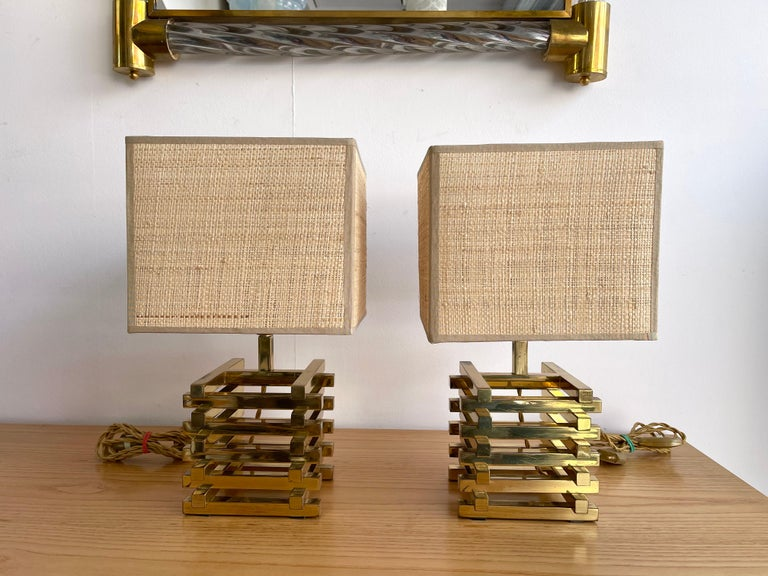 Pair of Brass Cage Lamps by Sciolari, Italy, 1970s For Sale 2