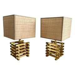 Pair of Brass Cage Lamps by Sciolari, Italy, 1970s