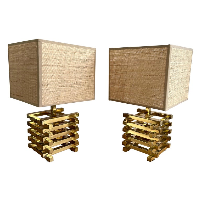 Pair of Brass Cage Lamps by Sciolari, Italy, 1970s For Sale