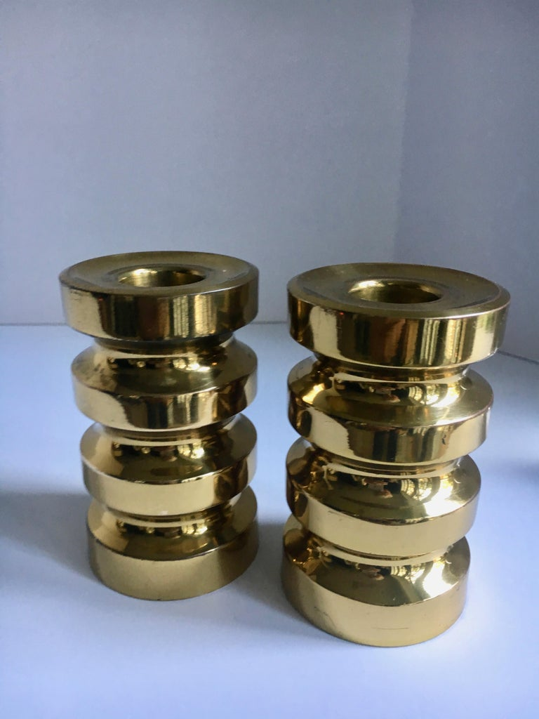 Mid-Century Modern Pair of Brass Candlesticks For Sale