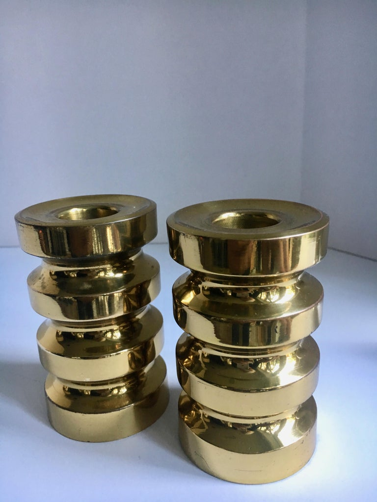 Pair of Brass Candlesticks In Good Condition For Sale In Los Angeles, CA