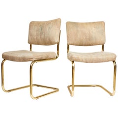 Pair of Brass Cantilever Chairs by Chromcraft