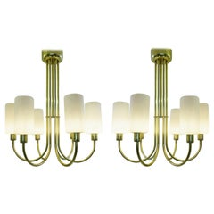Pair of Brass Ceiling Lights, Italy, circa 1960