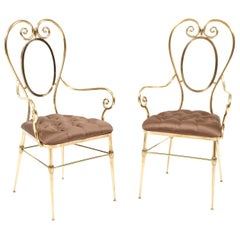 Pair of Brass Chairs with Silk Upholstery, Italy, circa 1950