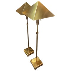 Pair of Brass Chapman Pyramid Adjustable Floor Lamps