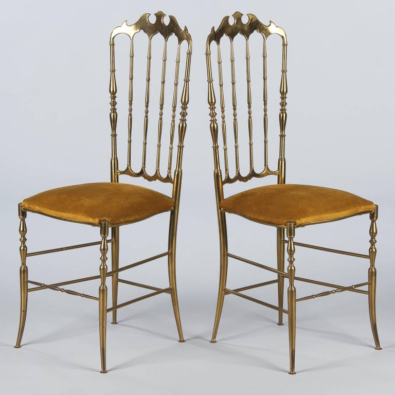 Pair of Brass Chiavari Chairs, Italy, 1960s For Sale 4