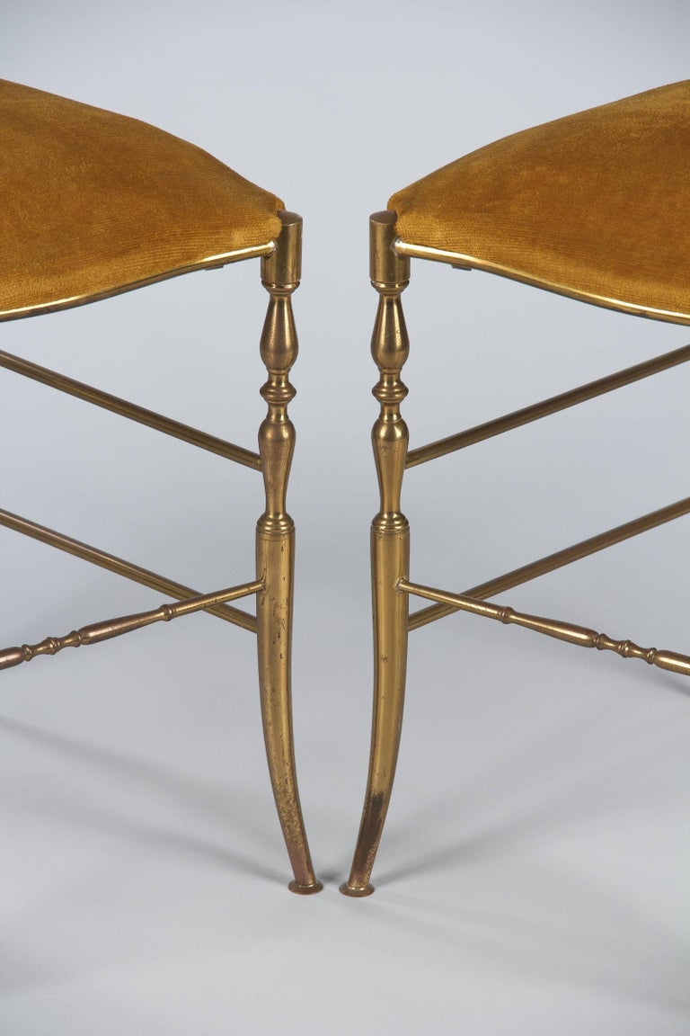 Pair of Brass Chiavari Chairs, Italy, 1960s For Sale 5
