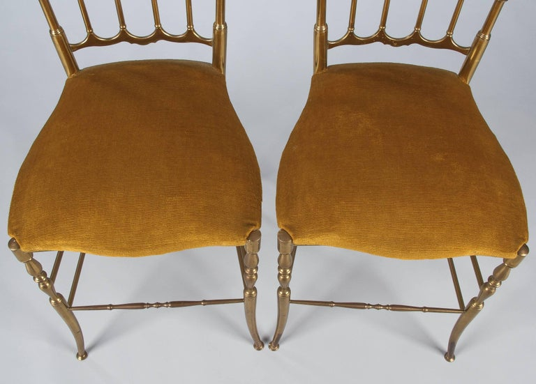 Pair of Brass Chiavari Chairs, Italy, 1960s For Sale 8