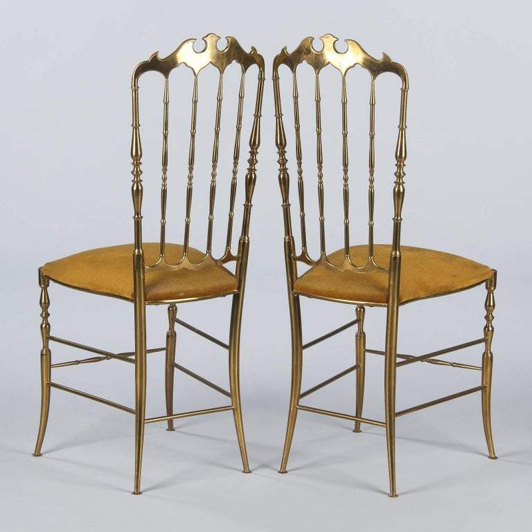 Italian Pair of Brass Chiavari Chairs, Italy, 1960s For Sale